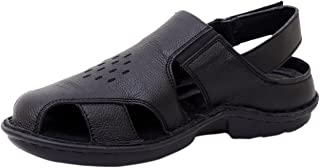 Athlego Men's Leather Outdoor Sandals & floaters in Black Color