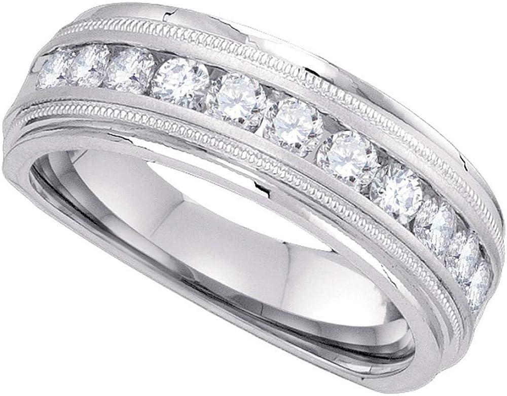 10kt White Gold Mens Round Daily bargain sale Diamond Wedding Band mart Single Ring Row