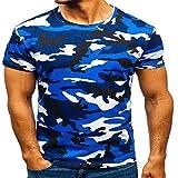 NOBRAND - Camiseta de manga corta para hombre, diseño de camuflaje digital, cuello redondo, casual, manga corta, diseño de camuflaje