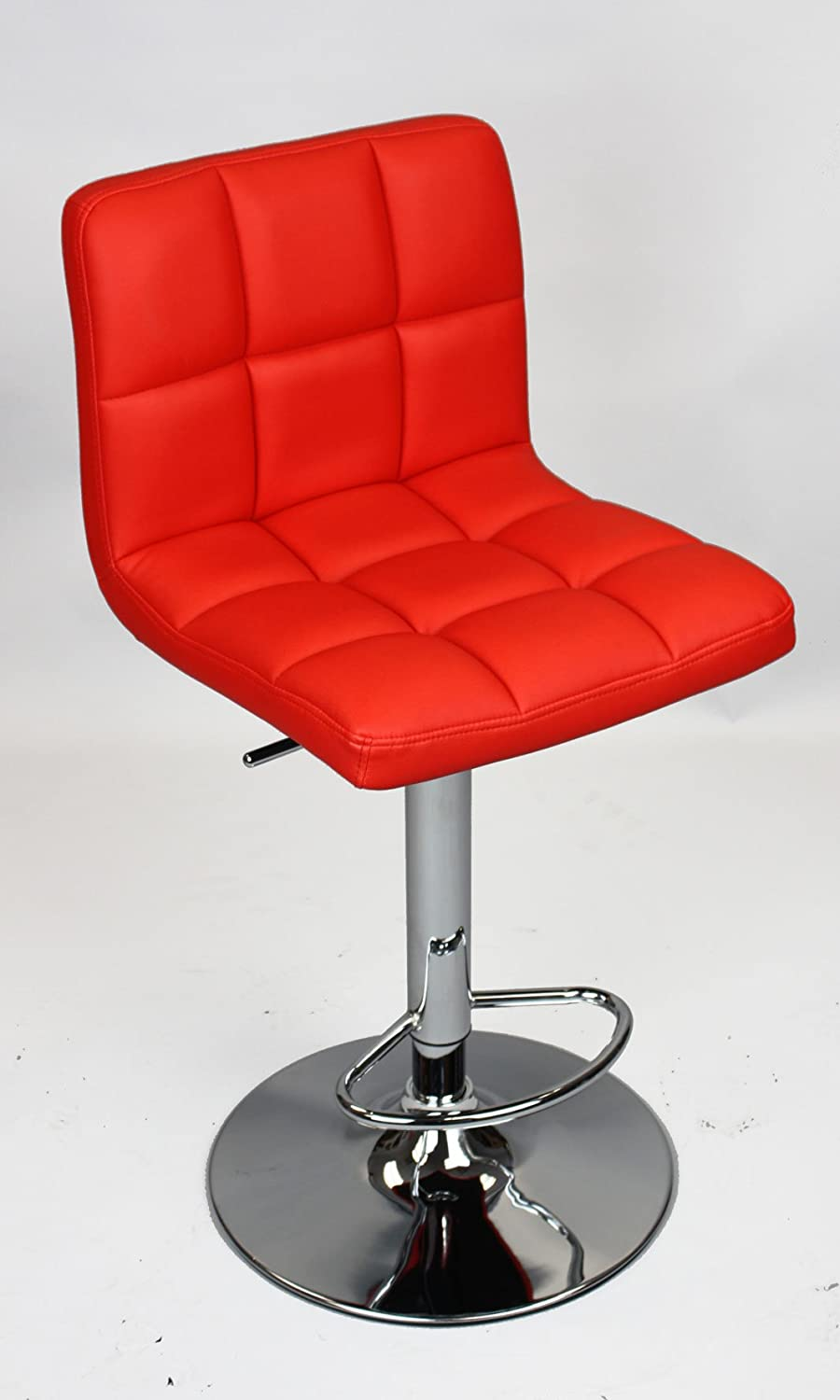 Red Quilted Leatherette Swivel Bar Stool