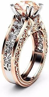 Fashion Women Color Separation Rose Gold Wedding Engagement Floral Ring