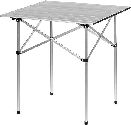 Maxstore Aluminium Campingtisch klappbar, Rolltisch 70x70x70 cm, Alu Klapptisch inkl. Tragetasche