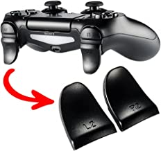 eXtremeRate 2 Pairs Black L2 R2 Buttons Trigger Extenders for Playstation 4 PS4 JDM-030 Controller