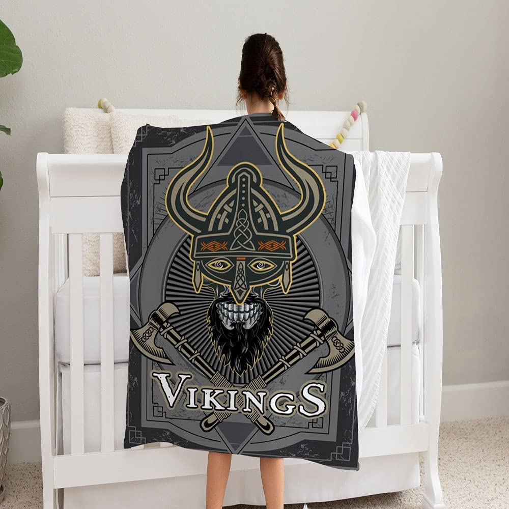 LPVLUX Purchase Viking Skull Head Vintage Style El Paso Mall Super Blanket and 1 Soft