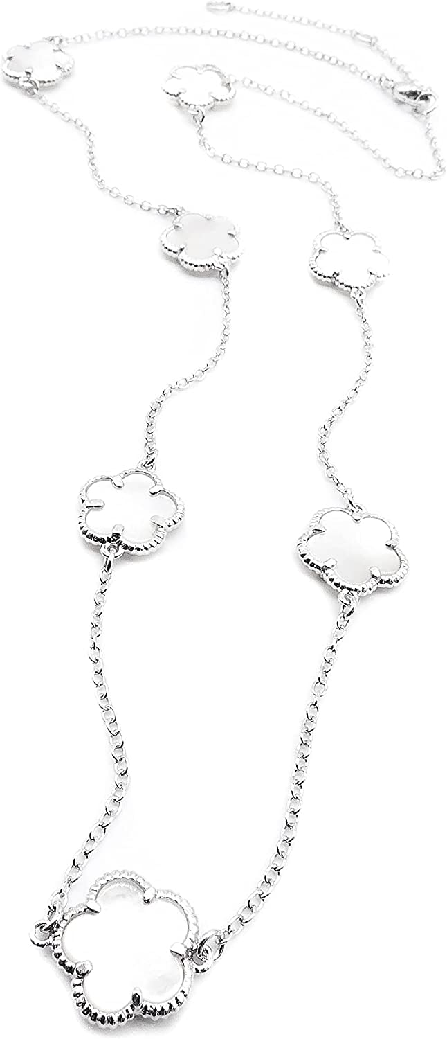 Exquisite Artisanal Thin 18kt Gold Plated, 18kt White Gold Plated, 18kt Rose Gold Plated - Chain 7 PCS Mother of Pearl Shell Clover Charms Necklace