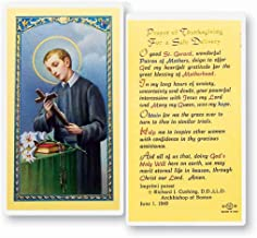 Saint Gerard Majella Prayer of Thanksgiving for a Safe Delivery Blessed Laminated Italian Holy card with Gold Accents