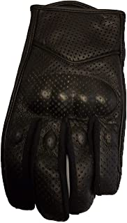 Bikers Gear Australia Short Soft Leather Summer Perforated Motorcycle Gloves, Black, Size 3XL