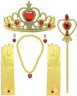 MISS FANTASY لوازم جانبی دخترانه شاهزاده خانم Belle پیراهن برای دختران Cosplay Queen Jewell مجموعه ای مناسب برای هالووین مهمانی دختران بسته جشن تولد شامل گوشواره های گردنبند دستباف Tiara Wand شامل 6 گوشواره