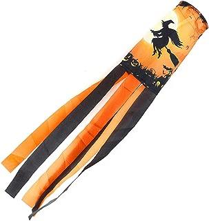 BIGPADA 2PCS Halloween Windsock Garden Decoration Outdoor Black Moonlight Cat Witch Wind Turbine Flag Rotating Hook Polyester (Orange)