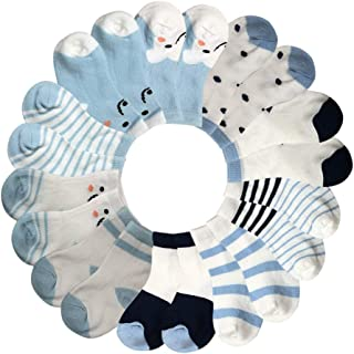 Baby Boys Cotton Socks Cute Ankle Socks Cozy Crew Socks for Newborn Infant Toddlers Childrens 0-36 Months 10 - Pairs