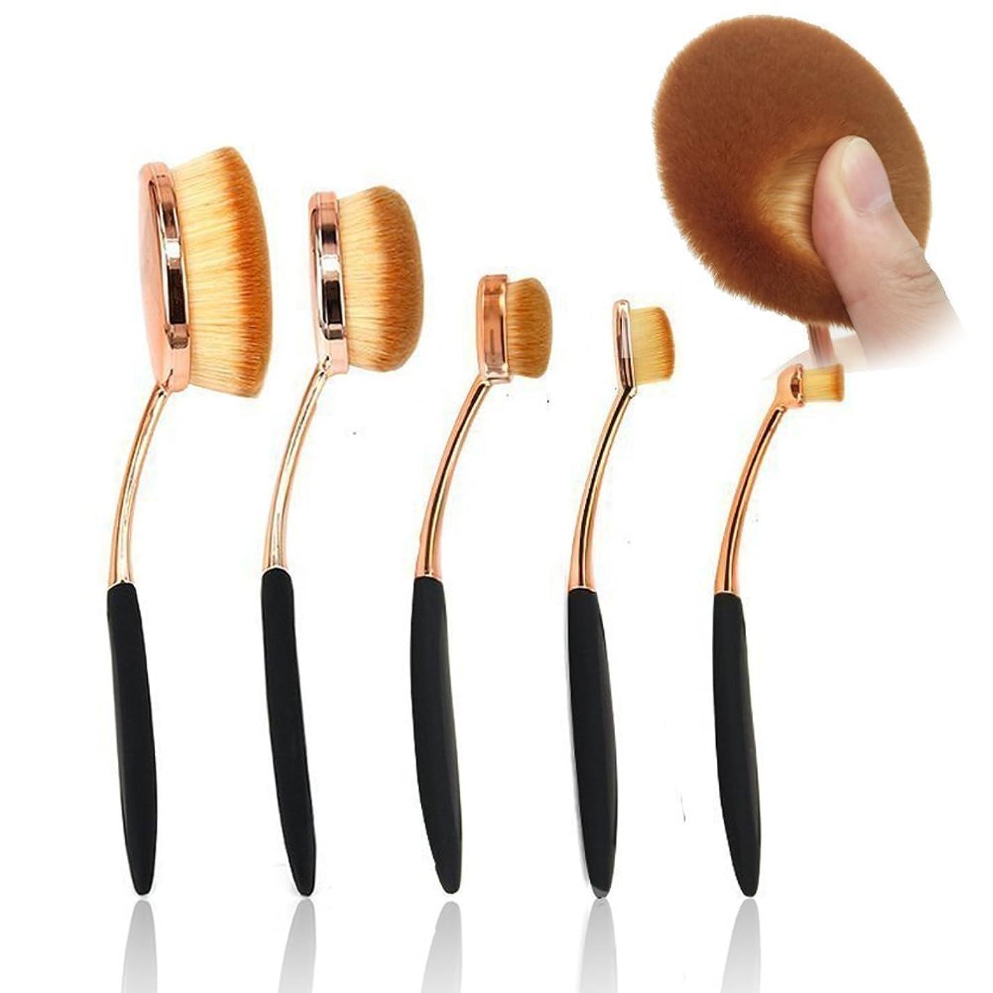 増強するお母さんデータUniSign メイクブラシ クリーナー 化粧ブラシ 天然毛 フェイスブラシ携帯用 化粧ブラシ 歯磨き型 5本セット プレゼント