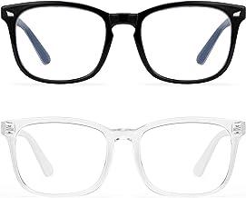 Blue Light Blocking Glasses Women Men-FEIDU 2pack Computer Fake Glasses HD Clear Lens Glasses (d3-black+clear)