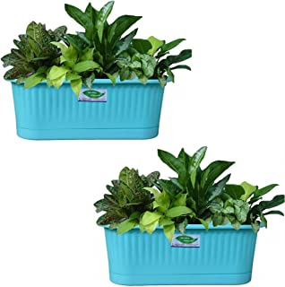 Minerva Naturals Plastic Railing Planter Pots (Turquoise Blue) - Pack of 2