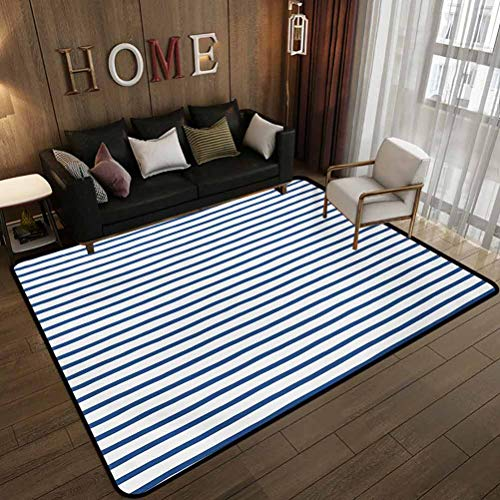 Dormitory Floor mat,Horizontal Nautical Stripes Pattern Hand Drawn Marine Sea Illustration,Non-Slip Decoration of Floor mats for Patio Doors Night Blue White 6'x8'(180x240cm)