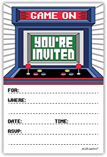 Arcade Birthday Party Invitations (20 Count) with Envelopes - Video Game Birthday