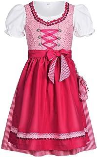 Nübler Nübler Kinderdirndl 3-TLG. Nuria Pink, 92-128, Ornamente, Rüschen, Miederherzchen, Glitzersteinchen