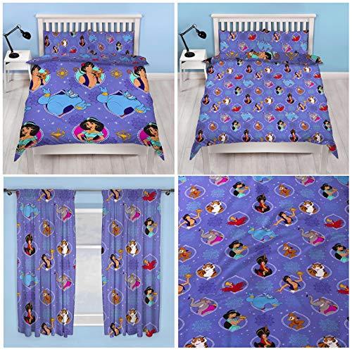 Disney Aladdin Bettwäscheset mit Bettbezug und passenden Vorhängen, Breite 72 Zoll