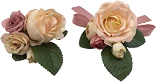 Abbie Home Prom Wrist Corsage Brooch Boutonniere Set Wedding Event Party Wristband Hand Flower Décor-Champagne&Pink