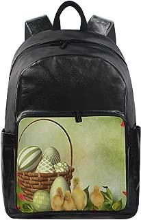 Women Men Bookbag Happy Easter Flowers Egg Eggs Sweet Animal Casual Canvas Backpack School Back Pack Rucksack Daypack for Students