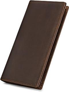 Kattee Men's Vintage Genuine Leather Long Wallet for Checkbook, Credit Cards, Dark Brown-2 (Brown) - XZ331DBL