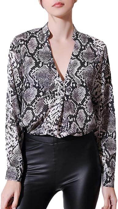 Yying Blusa Estampada de Piel de Serpiente para Mujer ...