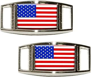 American Flag - USA Shoe Sneaker Shoelace Charm Rectangular Decoration - Set of 2