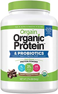 Orgain Organic Plant-Based Protein Powder, Creamy Chocolate Fudge, 2.74 Lb
