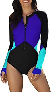 Amazon Brand - HIKARO Womens One Piece Zip Front Maillot Rashguard Swimsuits Color Block Long Sleeve Surf Swimwear Bathing...