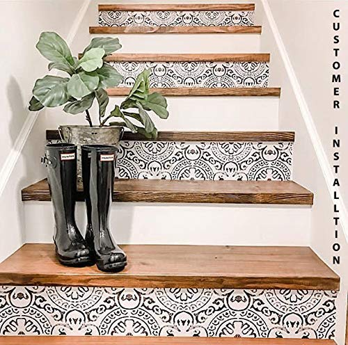 Amalfi Stair Riser Peel Stick Vinyl Decal Self Adhesive Waterproof Easy to Trim & Clean Pet Friendly Repositionable Removable DIY for Home Decor Pack of 5 Strips (7