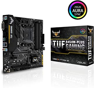 ASUS AMD B450 mATX gaming motherboard with Aura Sync RGB LED lighting, DDR4 3466MHz support, 32Gbps M.2, HDMI 2.0b, Type C and native USB 3.1 Gen 2. (TUF B450M-PLUS GAMING)