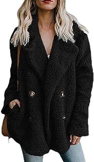 Women's Fleece Fuzzy Open Front Buttons Classic Coat Outwear Jackets