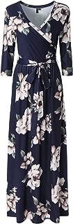 Zattcas Womens 3/4 Sleeve Floral Print Faux Wrap Long Maxi Dress with Belt