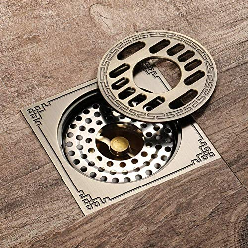 YYALL Desagüe del piso Desodorante de baño de latón cuadrado desagüe del piso de la ducha para drenar el piso del baño familiar especial para la lavadora