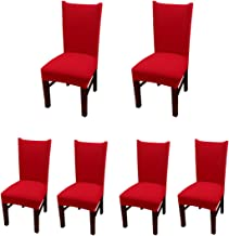 Deisy Dee Stretch Solid Color Chair Covers Removable Washable for Hotel Dining Room Ceremony Chair Slipcovers Pack of 6 C093 (red)