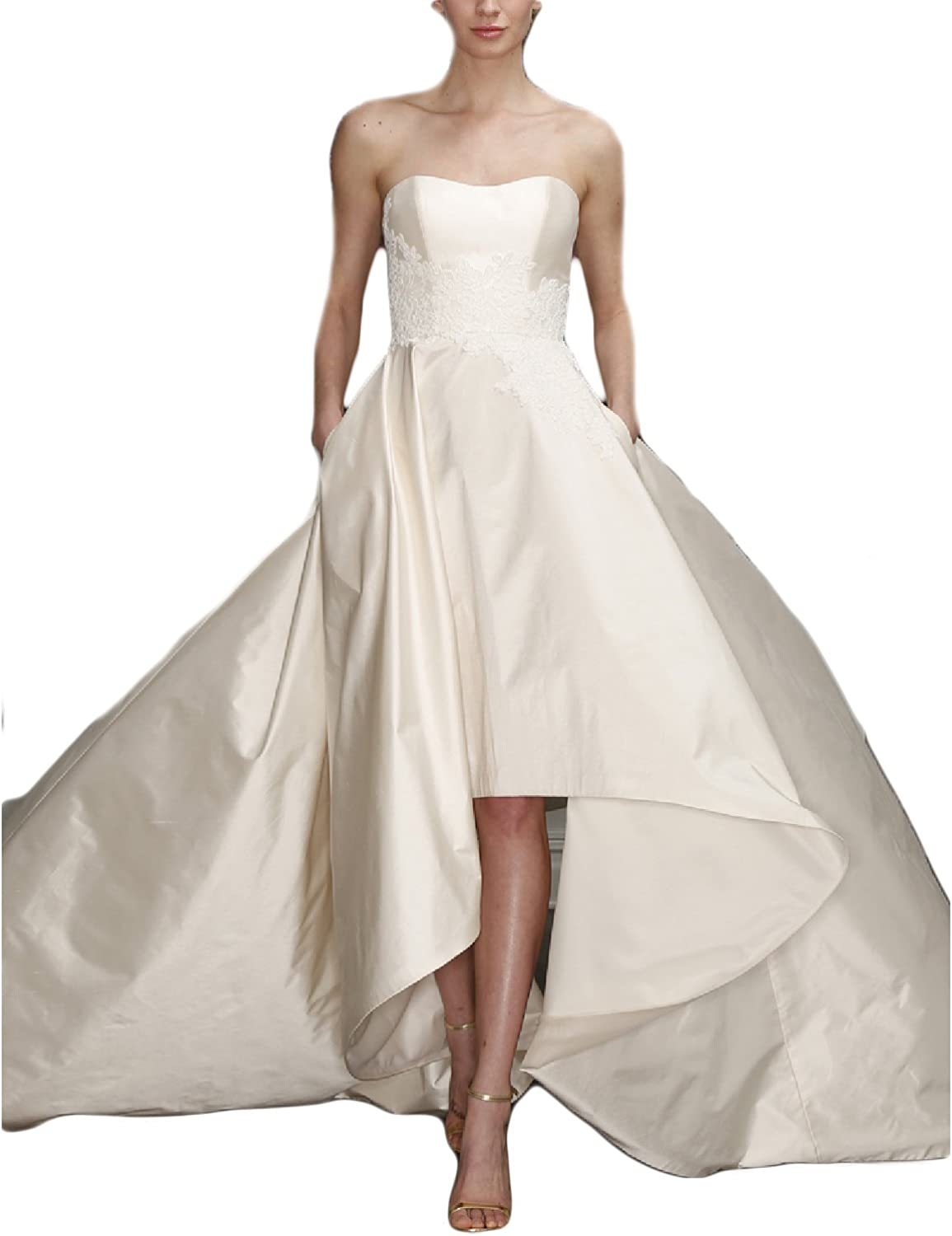 YSMei Women's Long Boateau Wedding Dress with Pockets Evening Prom Gown YWD071