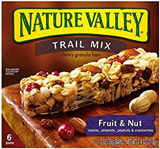 Nature Valley Fruit and Nut Trail Mix Chewy Granola Bars, 6 Count Box (Pack of 4)
