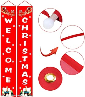 UGpine Bright Front Yard Door Welcome Christmas Banners Red Porch Sign Hanging Xmas Decorations for Home Window Fireplace Wall Indoor Outdoor Holiday Party Apartment Two Side Decor Flag