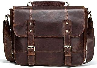 Retro Cowhide Man Single Shoulder Bag Horizontal Style Personality Leather Men's Hip Cross Bag (Color : Brown, Size : S)