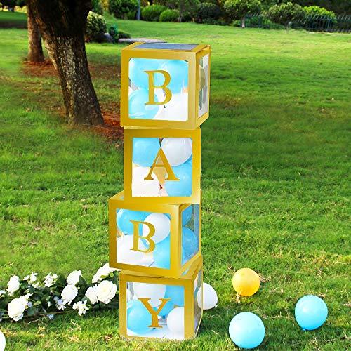 VINFUTUR Scatola Palloncini Scatola per Baby Shower Palloncino Scatole Quadrato Trasparente per Battesimo Compleanno Festa Decorazione DIY