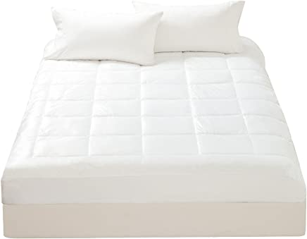 Mellanni Microplush Mattress Pad Queen- Super Soft Cover, Overfilled Topper, Protector - Washable, Deep Fitted Pocket (Queen)