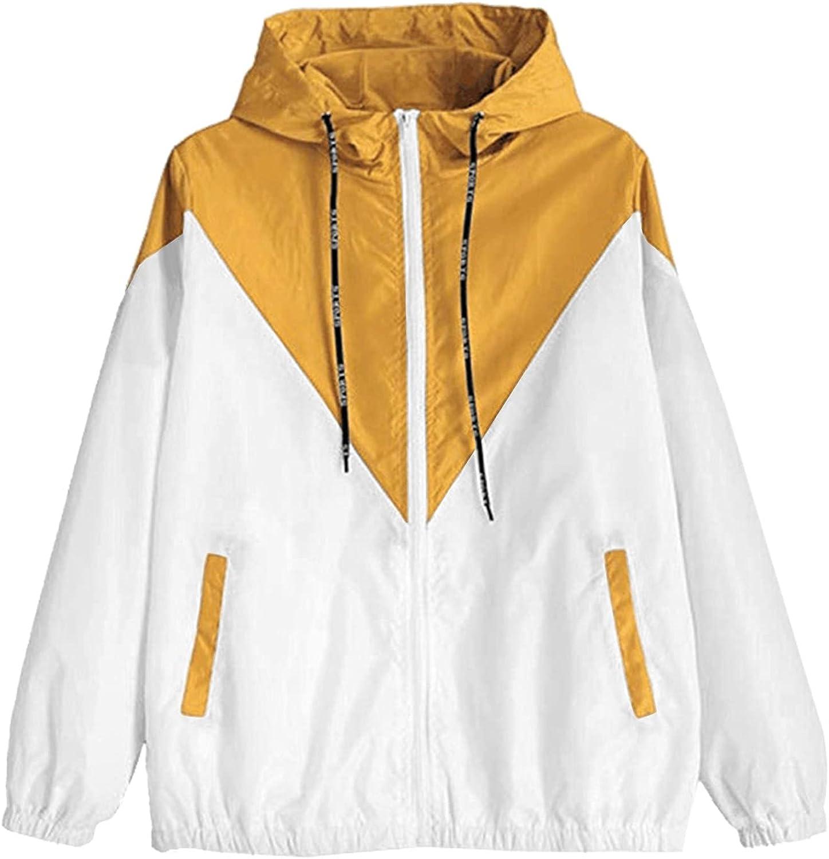 Women's Color Block Hooded Casual Thin Windbreaker Jacket Windproof Hoodie with Pocket Lightweight Sweatshirts