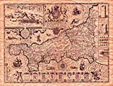MAP Antique Speed 1614 Cornwall County Old Large Replica