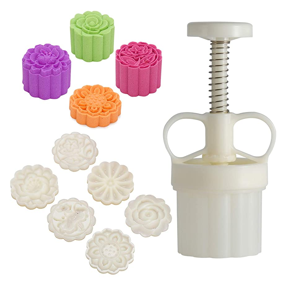 Louty Mid-Autumn Festival DIY Mooncake Mold,Cookie Press with 65g 6pcs stamps(Adjustable Thickness,Easy to Clean)
