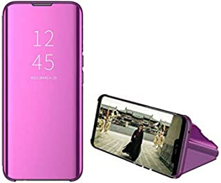 Clear View Mirror Stand Cover for Samsung Galaxy A32 - Purple
