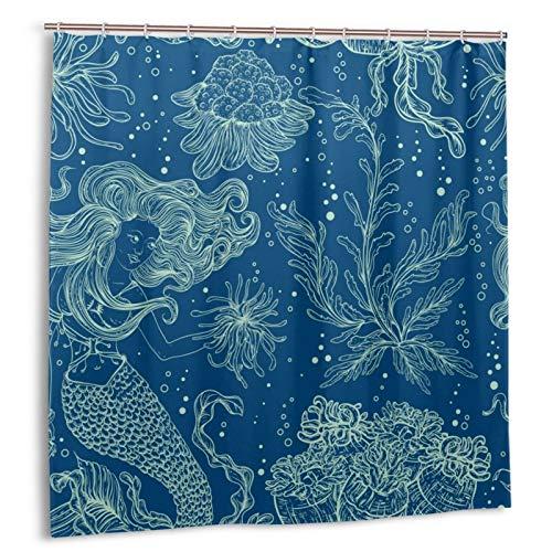 Meerjungfrau-Duschvorhang Aquarellfarben handgezeichnet Prinzessin Meerjungfrau Seetang Qualle Koralle in Blau Ozean Duschvorhang nautischer Marine Meer Kreatur Durable Badvorhang Wasserdicht