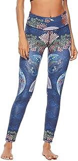 CapsA Workout Leggings Women Fitness Sports Pants Chinese Retro Style Leggings Blue