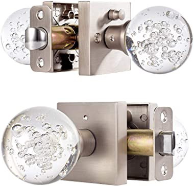 HIEMEY Privacy Bed Bath Door Knobs Interior with Lock, Round Clear Bubble Crystal Glass Door Knobs Brushed Nickel, Keyless Ba