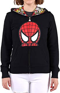 Tokidoki Marvel Peeking Spidey Women's Black Zip Up Hoodie