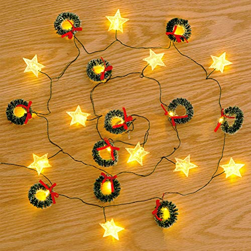 Snow Branches Christmas Led String Lights with Twined Red Berry Lights 7ft 20LEDs Battery Operated Lights for Christmas Tree Fireplace Festival Bedroom Holiday Xmas Decor (Green Warm)