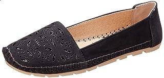 حذاء مسطح جلد صناعي بنقشة ورود مفرغ بالليزر وخياطة للنساء من جرينتا